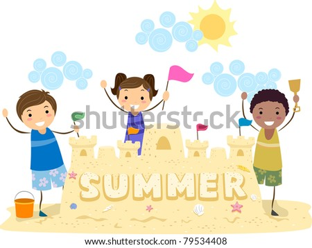 Illustration of Kids Presenting Their Sand Castle - stock vector