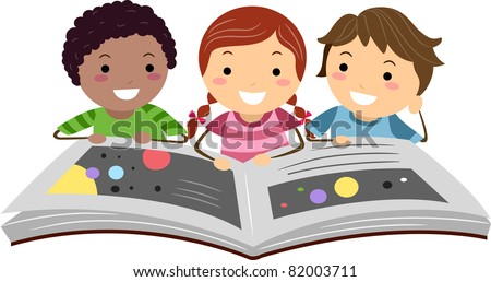 Illustration of Kids Reading a Science Book - stock vector