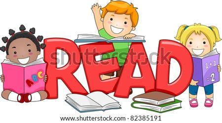 Illustration of Kids Reading Different Books - stock vector