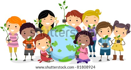 Illustration of Kids Representing Different Ethnic Backgrounds - stock vector