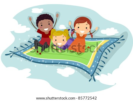 Illustration of Kids Riding a Flying Carpet - stock vector
