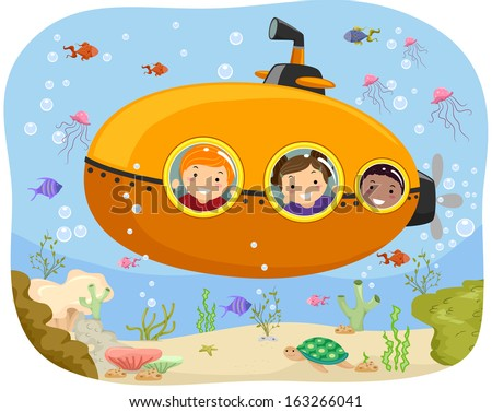 Illustration of Kids Riding a Mini Submarine - stock vector