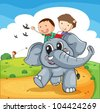 Illustration of kids riding an elephant - stock vector