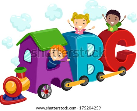 Illustration of Kids Riding in Train Coaches Shaped Like Letters of the Alphabet - stock vector