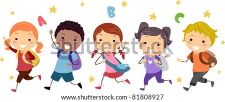 Illustration of Kids Running - stock vector