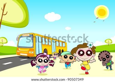 illustration of kids running in front of school bus - stock vector