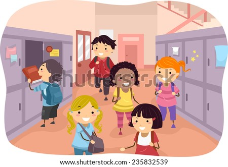 Illustration of Kids Scattered Around the School Corridors - stock vector