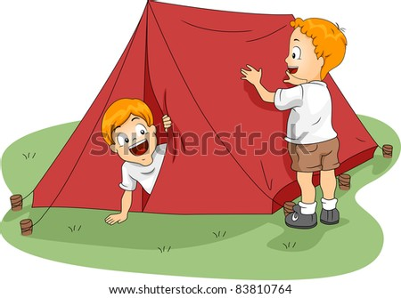 Illustration of Kids Setting Up a Tent - stock vector