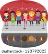 Illustration of Kids singing on the Stage - stock vector