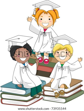 Illustration of Kids Sitting on a Pile of Books - stock vector
