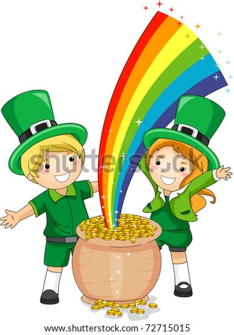 Illustration of Kids Standing in Front of a Pot of Gold - stock vector