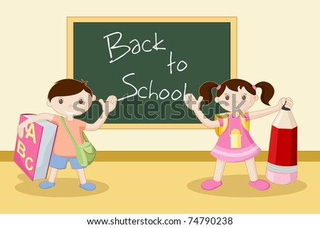 illustration of kids standing in front of black board - stock vector