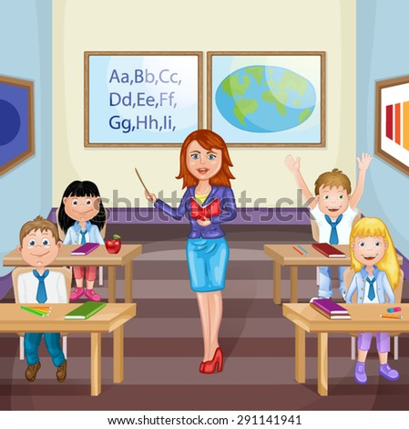 Illustration of kids studying  in classroom with teacher - stock vector
