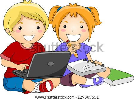 Illustration of Kids studying with the use of Laptop, notebook, pencil and book - stock vector