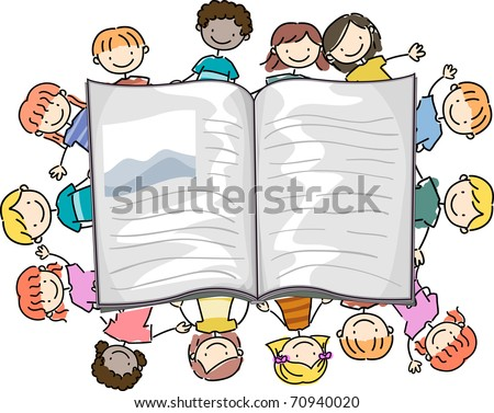 Illustration of Kids Surrounding a Large Book - stock vector