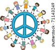Illustration of Kids Surrounding a Peace Sign - stock photo