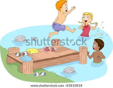 Illustration of Kids Swimming - stock vector