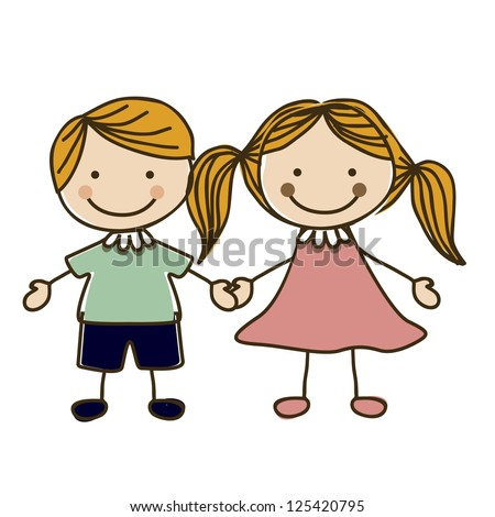 Illustration of kids team or couple, in cartoon style and sketch, vector illustration - stock vector