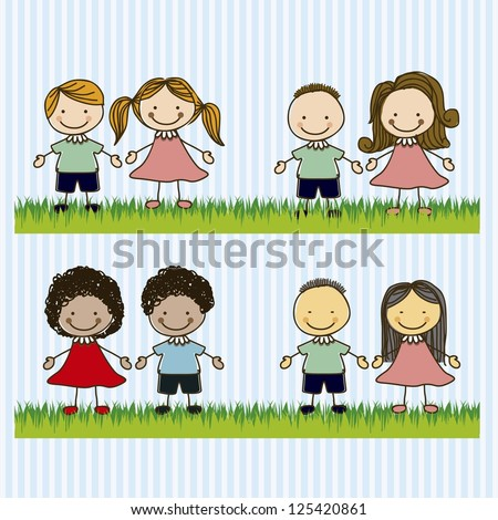 Illustration of kids team or couples, in cartoon style and sketch, vector illustration - stock vector