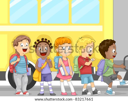 Illustration of Kids Waiting to Get in the Bus - stock vector