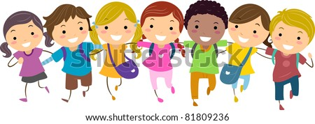 Illustration of Kids Walking Together - stock vector