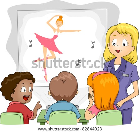 Illustration of Kids Watching a Show Through a Projector - stock vector