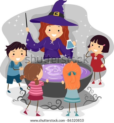 Illustration of Kids Watching a Witch Cast a Spell - stock vector