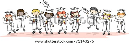 Illustration of Kids Wearing Caps and Gowns - stock vector