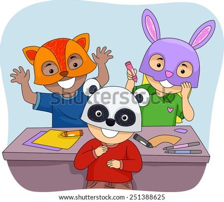 Illustration of Kids Wearing Colorful Animal Masks - stock vector
