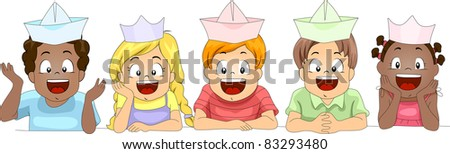 Illustration of Kids Wearing Paper Hats - stock vector