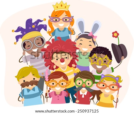 Illustration of Kids Wearing Photo Booth Props - stock vector