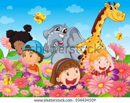 Illustration of kids with animals - stock vector
