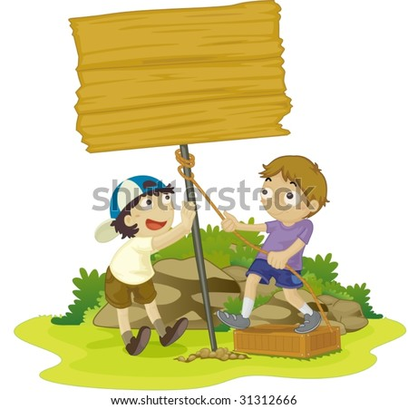 illustration of kids with notice board