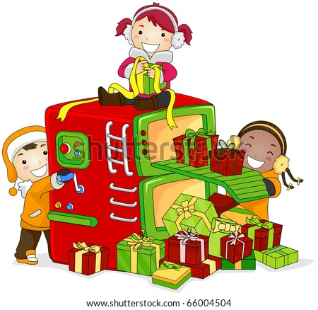Illustration of Kids Working in a Mini Gift Factory - stock vector