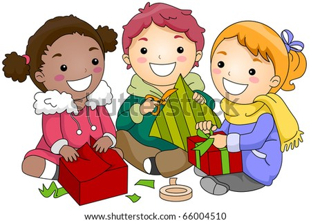 Illustration of Kids Wrapping Gifts - stock vector