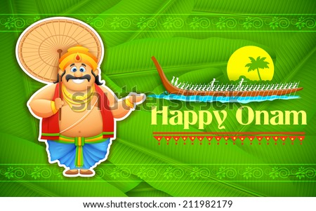 illustration of King Mahabali enjoying Boat Race of Kerla on Onam - stock vector