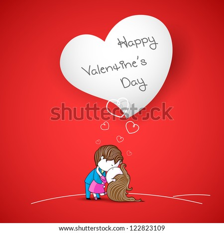 illustration of kissing couple on love background - stock vector