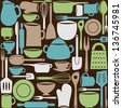 Illustration of kitchen dishes and utensils, seamless pattern - stock