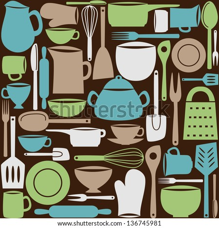Illustration of kitchen dishes and utensils, seamless pattern - stock vector