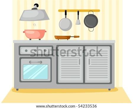 illustration of kitchen room furniture - stock vector
