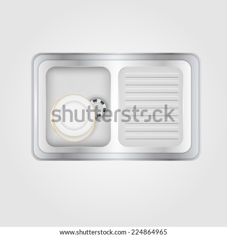 Illustration of kitchen sink. Metallic kitchen sink with white plates a top view. Isolated illustration on gray. - stock vector