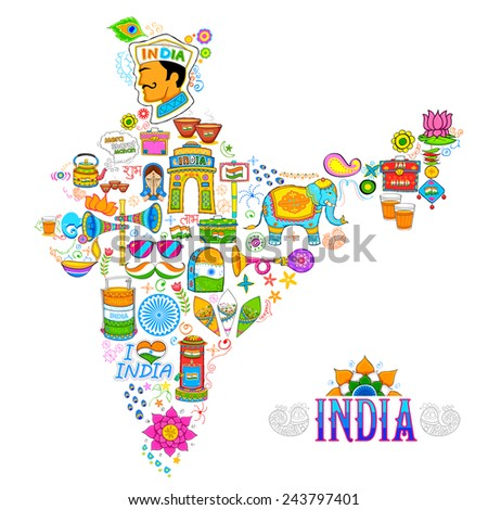 illustration of kitsch art of forming map of India - stock vector
