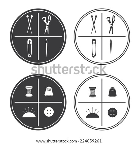 Illustration of label sewing. Vector - stock vector