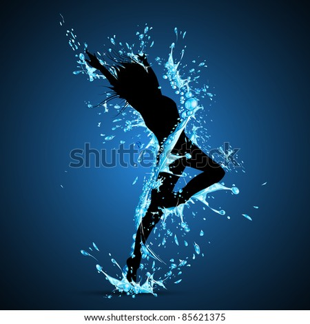 illustration of lady dancing in splash of water on abstract background - stock vector