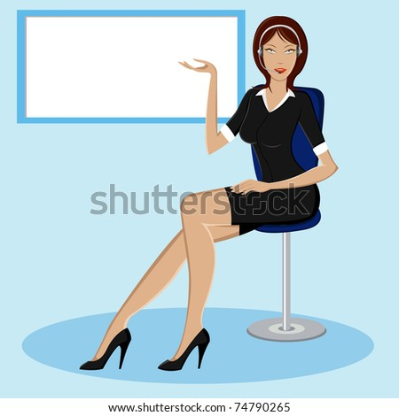 illustration of lady giving presentation in front of board - stock vector