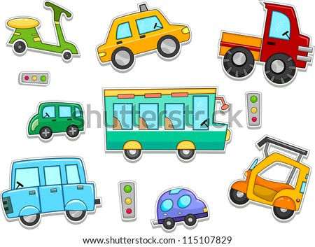 Illustration of Land Vehicles That Can be Printed Out as Stickers - stock vector