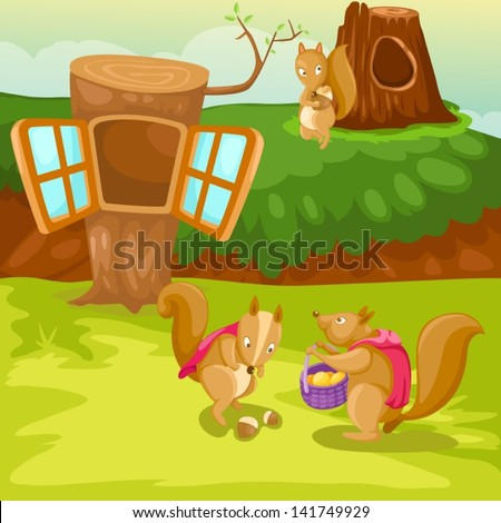 illustration of landscape cartoon squirrel and tree house - stock vector