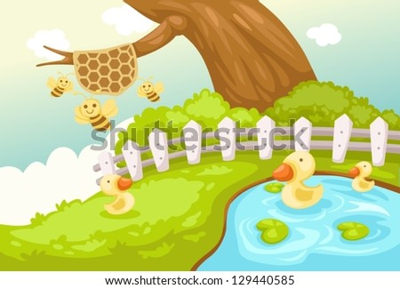 illustration of landscape cute duck and bees - stock vector