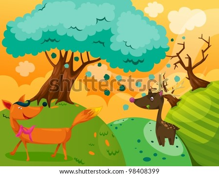 illustration of landscape fox and deer in the jungle - stock vector