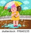 illustration of landscape girl in the rain - stock vector